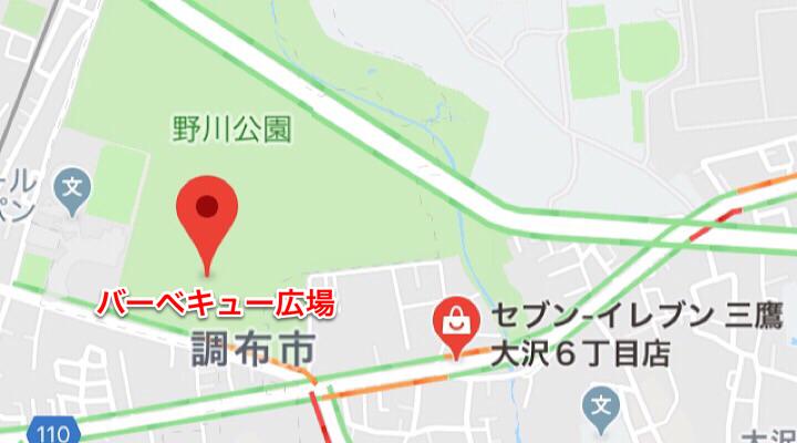 野川公園とコンビニの位置関係
