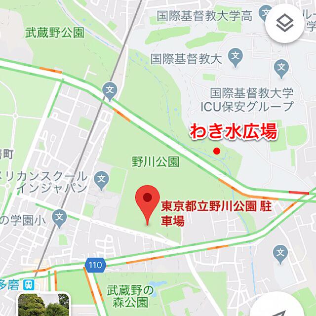 東京都立野川公園駐車場とわき水広場の位置関係を示した地図