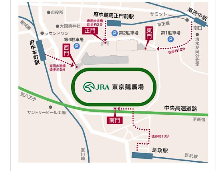 東京競馬場へのアクセスマップ