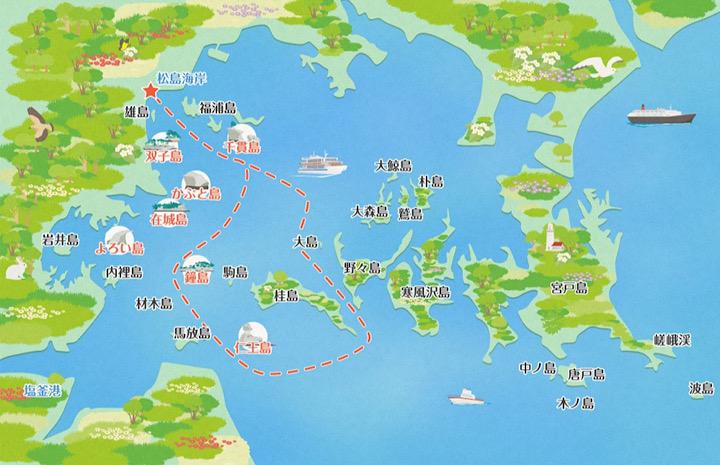 第三仁王丸の航路を示した地図