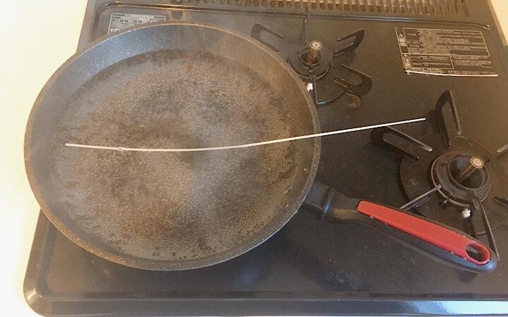 フライパンに収まらない稲庭うどん