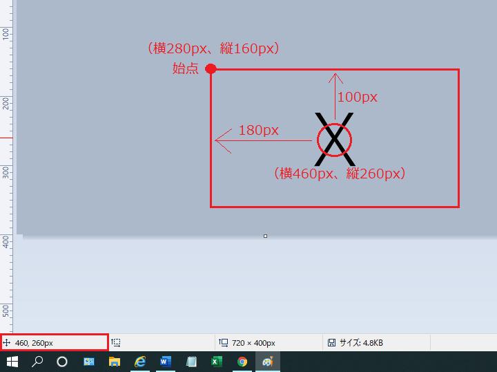 始点の位置を示している画像