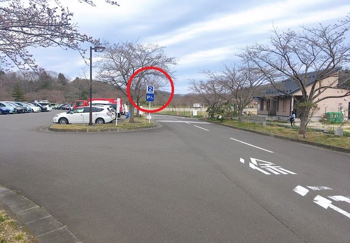 園内にある駐車場への誘導標識