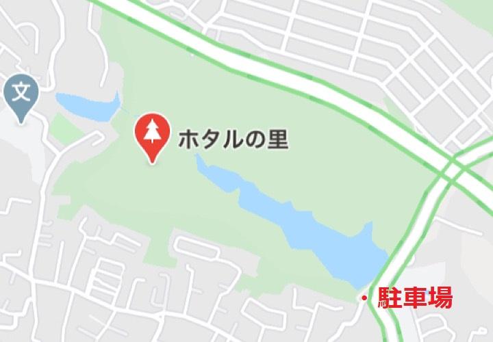 ホタルの里(与兵衛沼)の駐車場の位置を示している地図