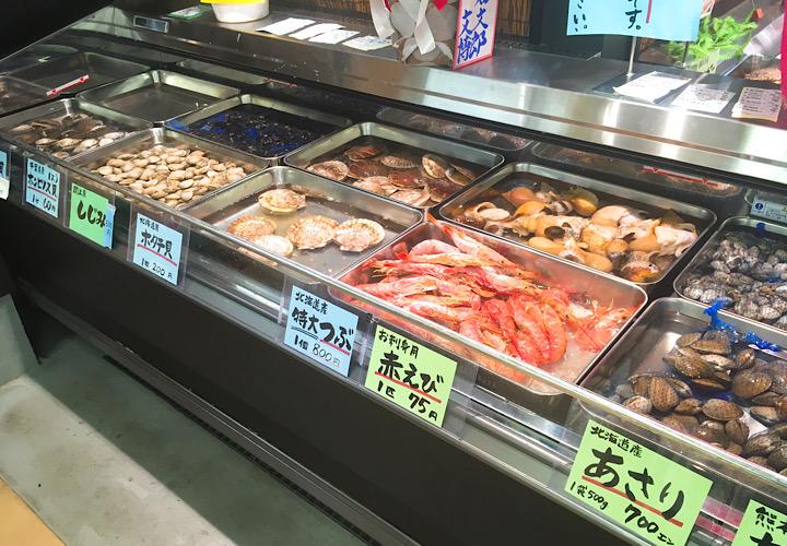 越浦商店で売られている貝類