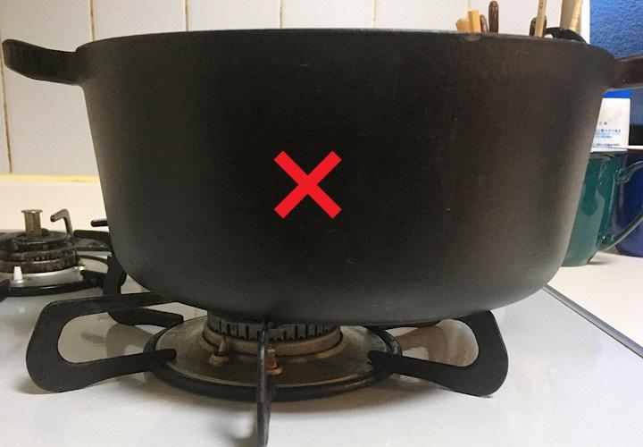 ゴトクの中央からずれて置かれている鍋