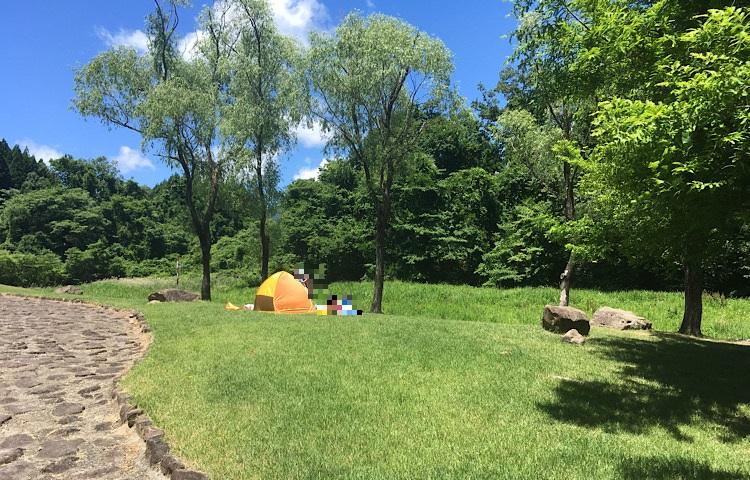 芝生広場に張られたサンシェードテント